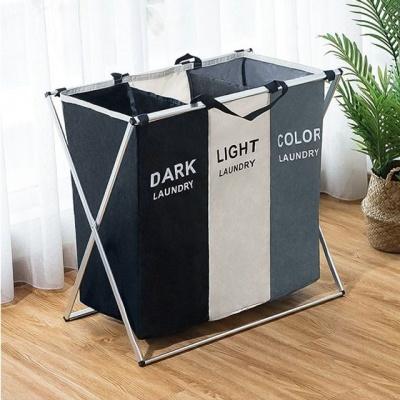 3단 빨래바구니 세탁물 분리 보관 이동식 세탁바구니