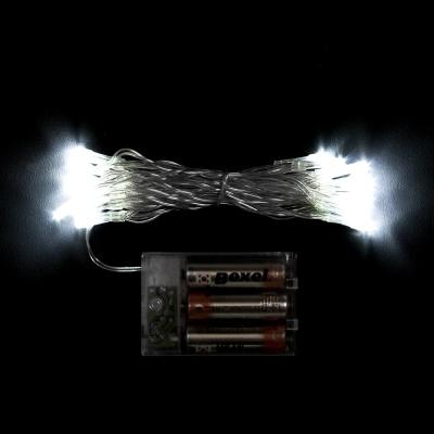 30구 투명선 피켓 LED 백색전구(3M) (배터리) (점멸有