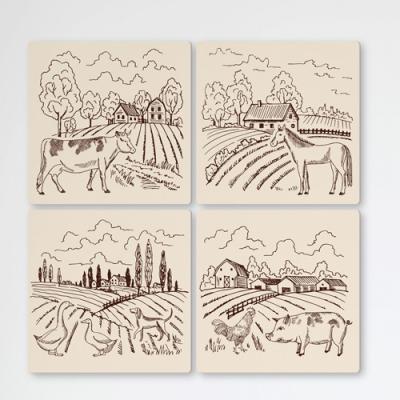 cf196-멀티액자_가축들이있는시골풍경