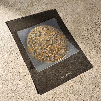 전통문양 쌍봉황 디자인 골드 메탈 스티커