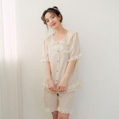 [쿠비카]레이스 스트라이프 3부 투피스 여성잠옷 W594