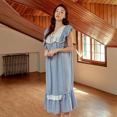 [쿠비카]숄더 이중캡 레이어드 원피스 여성잠옷 W748