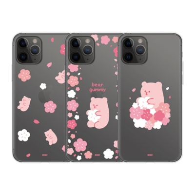 갤럭시S21 S20 S10 노트20 베어구미 벚꽃 투명 케이스