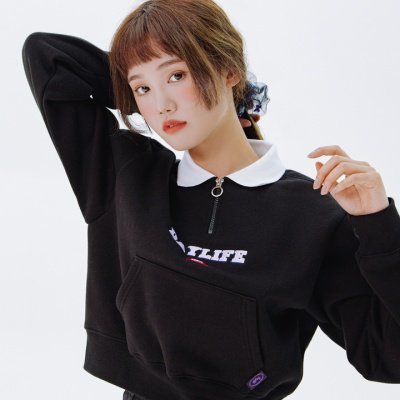 데이라이프 카라 크롭 스웨트 셔츠 (블랙)