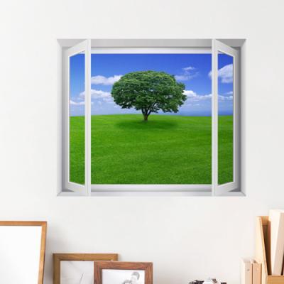 cw428-초원위의나무한그루_창문그림액자(중형)