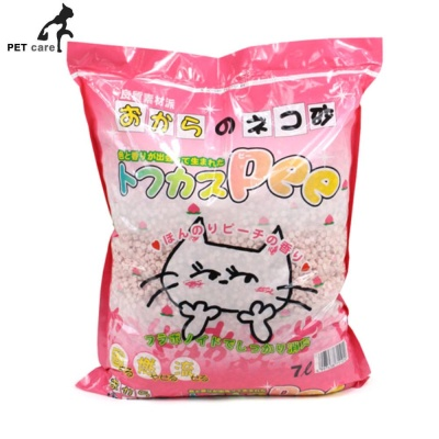 토후카스 Pee 천연두부모래 7L (복숭아향) (핑크)