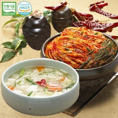 [명가김치] 국내산 포기김치 5kg+나박물김치 3kg