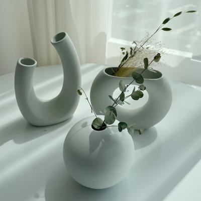 북유럽 인테리어 디자인 세라믹 도자기 화병 꽃병 3종