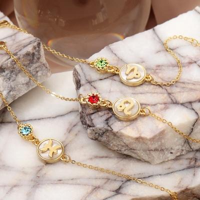 [선물포장]천연자개 탄생석 별자리 체인 팔찌