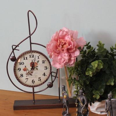 높은음 황동수공예 시험관 장식 유리 꽃화병 탁상시계