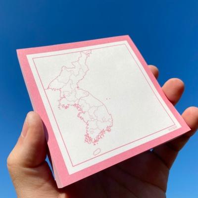 대한민국 한반도 지도 클래식 핑크 심플 메모지