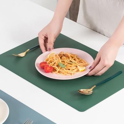 더테이블 가죽 식탁매트 방수 사각 플레이팅(그린)