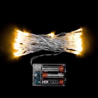 50구 투명선 피켓 LED 웜색전구(5M) (배터리) (점멸有