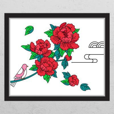 ia444-풍수모란꽃과새(화이트배경)_창문그림액자