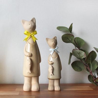 갓샵 리본 고양이 장식 소품 2p 도자기 인형 장식품
