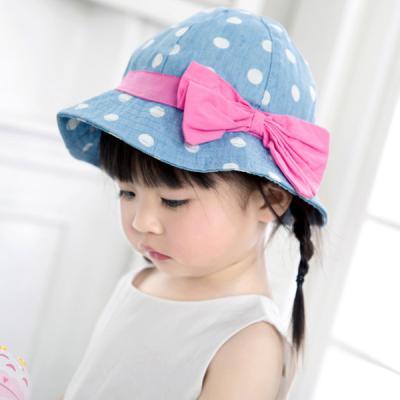 핑크리본 땡땡이 벙거지 아기모자47-53cm 300055