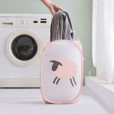 핑크 멀티 수납 바구니 세탁물 보관 매쉬 정리 보관