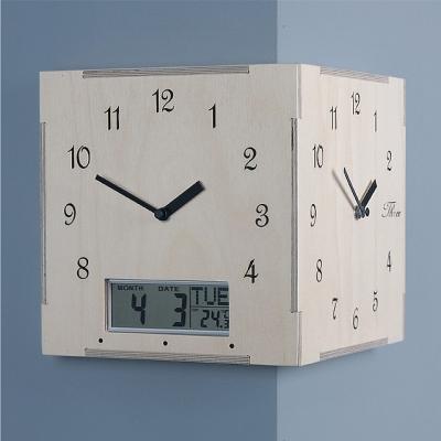 타임데코 핸드메이드 코너양면시계(디지털 캘린더)