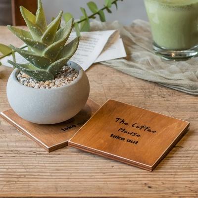 유리 컵 찻잔 홀더 나무 받침 대 우드 티 코스터 커피