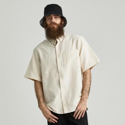 CB 스트라이프 옥스포드 반팔 셔츠 (옐로우)