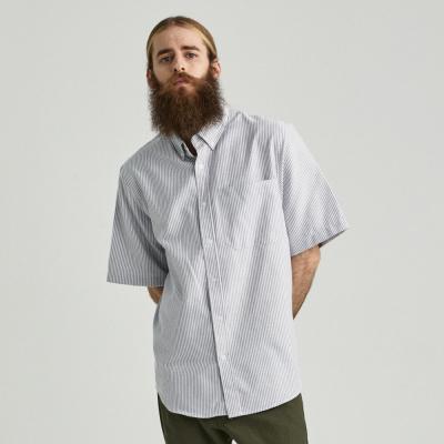 CB 스트라이프 옥스포드 반팔 셔츠 (그레이)