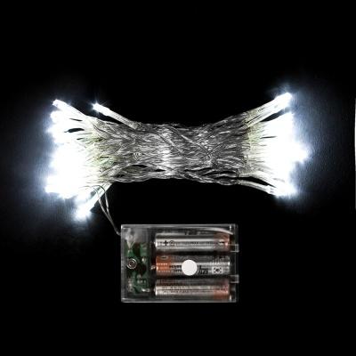 50구 투명선 피켓 LED 백색전구(5M) (배터리) (점멸有