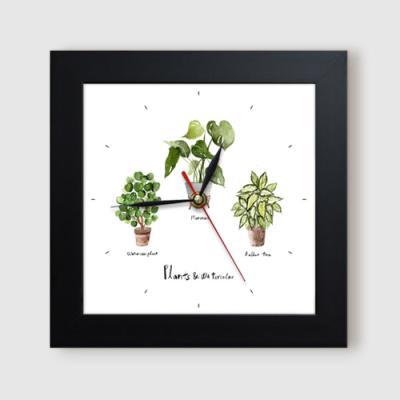 ct896-수채화식물정원_미니액자벽시계