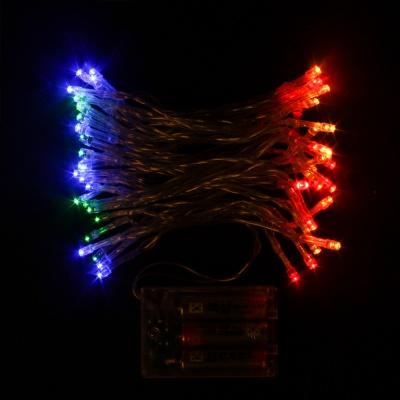 50구 투명선 피켓 LED 칼라전구(5M) (배터리) (점멸有