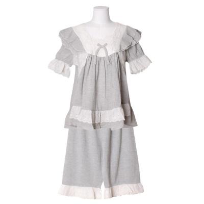 [쿠비카]소매 밑단 레이스 합체 투피스 여성잠옷 W762